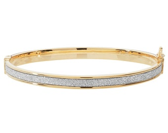 9ct Yellow Gold Stardust Striped 3mm Hinged Baby Bangle Hallmarked - Real 9K Gold
