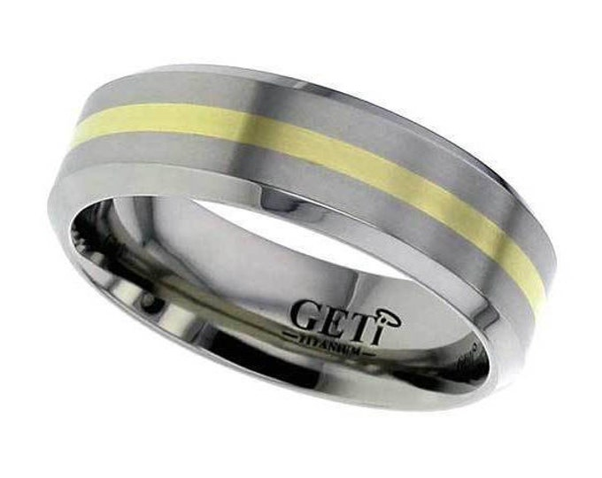 Titanium Wedding Ring Inlaid With 18ct Gold Yellow Stripe & Chamfered Edges - Made to Order - FREE ENGRAVING