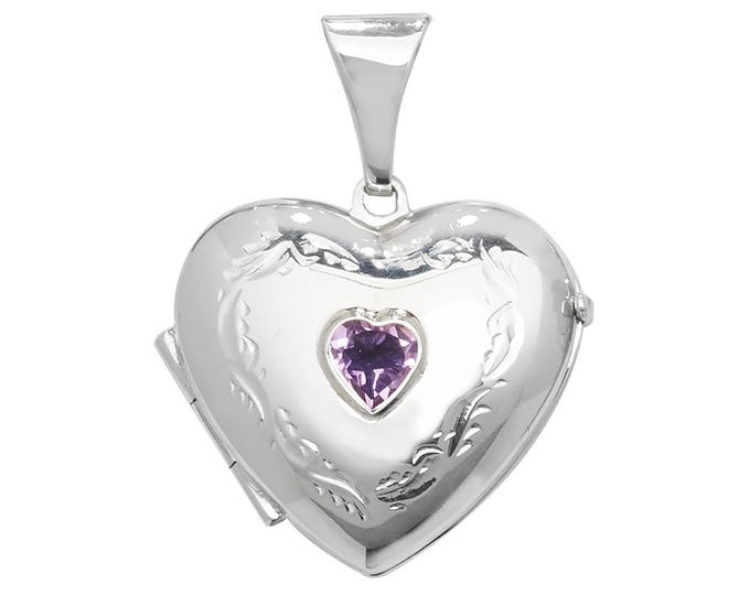 Sterling Silver Engraved Heart Shaped 2 Photo Locket With Centre Purple Amethyst