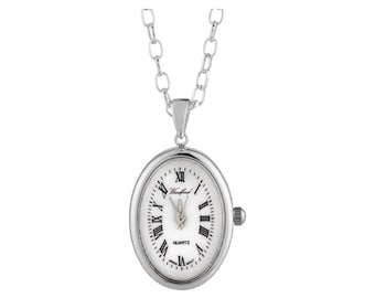 """Ladies Art Deco Sterling Silver Woodford Oval Quartz Pendant Watch on 28"""" Chain"""