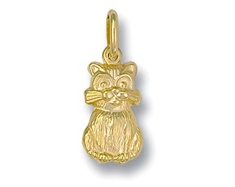 9ct Yellow Gold Hollow Kitty Cat Charm Pendant - Real 9K Gold