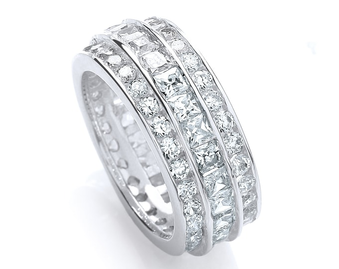 Full Eternity Princess & Brilliant Cut Channel Set 8mm Ring Rhodium Plated 925 Sterling Silver