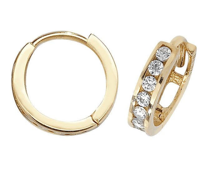 9ct Yellow Gold 9mm Channel Set Cz Hinged Hoop Earrings