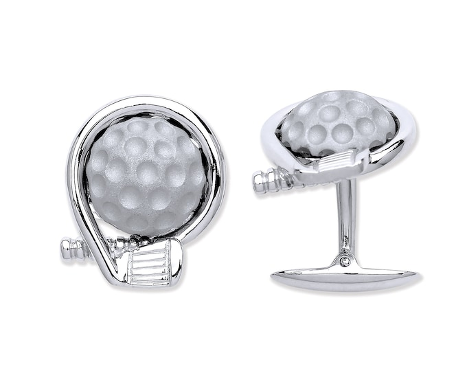 Men's 925 Solid Sterling Silver Golf Club & Ball Cufflinks Hallmarked Personalised