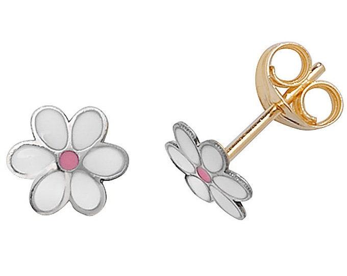 9ct White Gold 6mm White & Pink Enamel Daisy Flower Stud Earrings