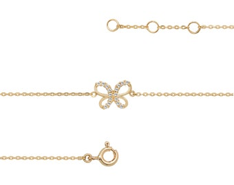 "Ladies 9ct Yellow Gold Cz Butterfly Charm Link 7.25"" Fine Lightweight Chain Bracelet"
