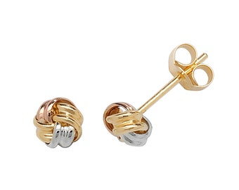 9ct Tri Colour Gold 4mm Twisted Ribbon Knot Stud Earrings - Real 9K Gold
