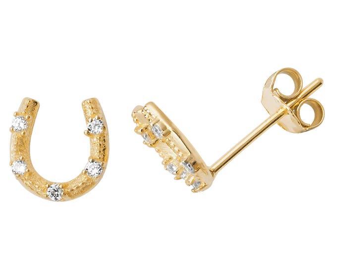 9ct Yellow Gold 6x5mm Lucky Horseshoe Cs Studded Earrings