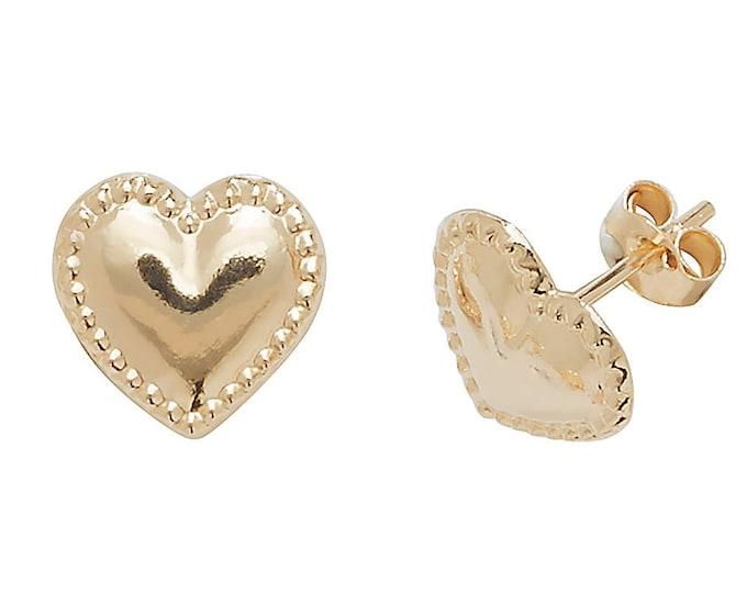 9ct Gold Vintage Bead Edge Heart Stud Earrings 6x6mm