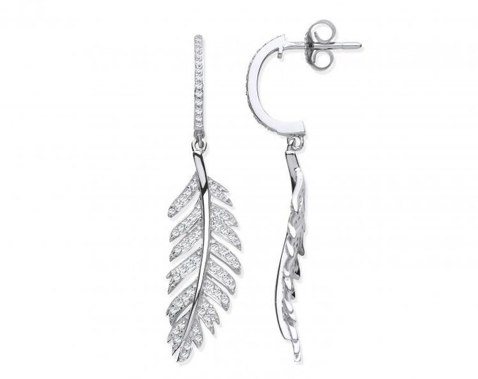 9ct White Gold Vintage 0.40ct Pave Diamond Feather Drop Earrings