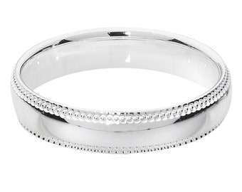 Millgrain Edges Court Shape Wedding Ring Widths 925 Sterling Silver 4mm-8mm Sizes J-Z