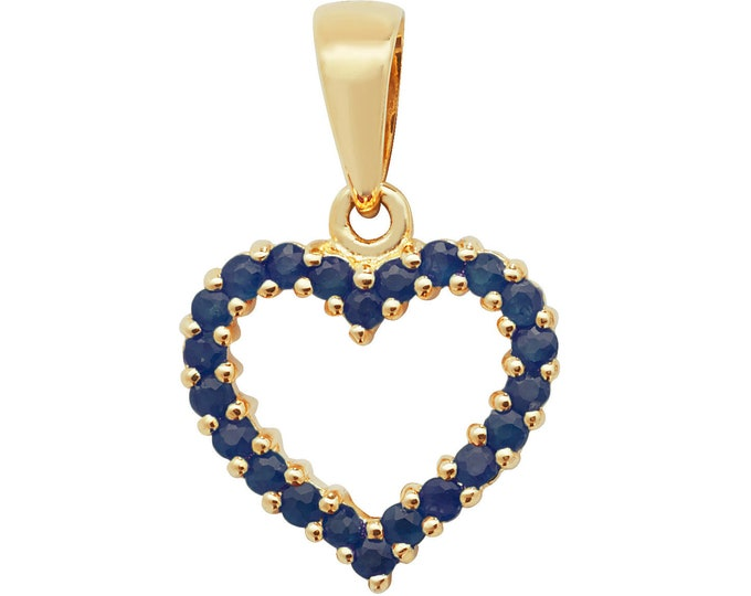 9ct Yellow Gold 0.62ct Claw Set Blue Sapphire Open Heart 1.2cm Pendant