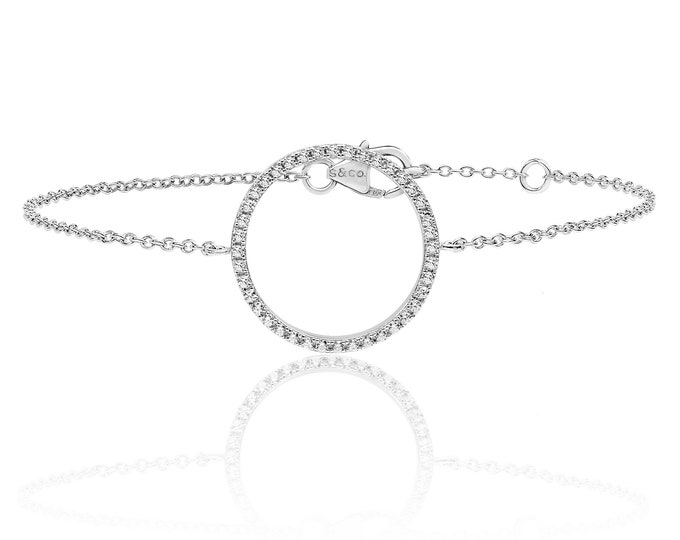 "925 Sterling Silver Cz Circle of Life 7"" Bracelet Rhodium Plated"