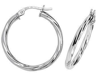Modern 9ct White Gold 2mm Twisted Tube Hoop Earrings 10mm 15mm 20mm 25mm - Real 9K Gold