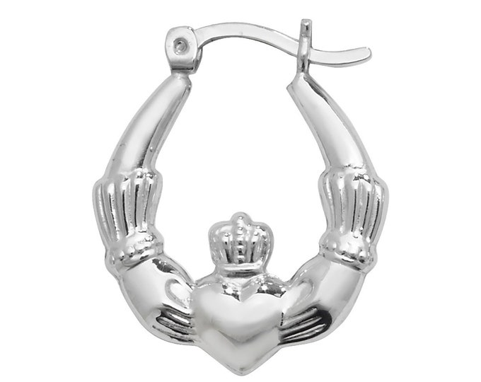 Pair of Small Sterling Silver Irish Claddagh Creole 18mm Hoop Earrings