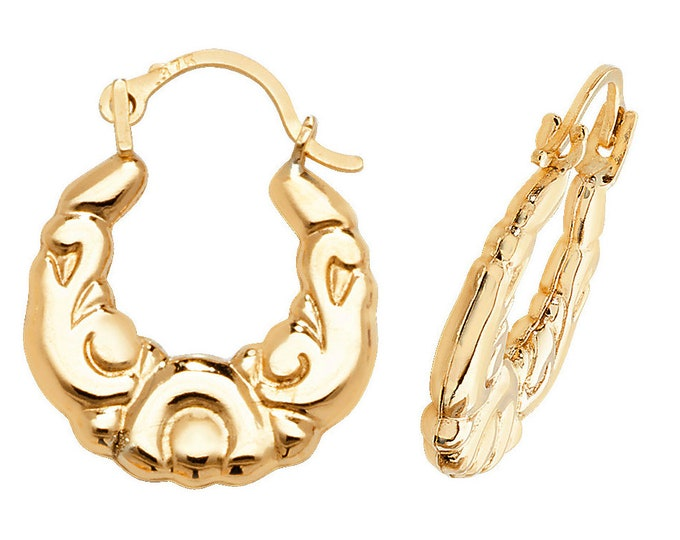 9ct Yellow Gold 12mm Baby Scroll Hollow Creole Hoop Earrings