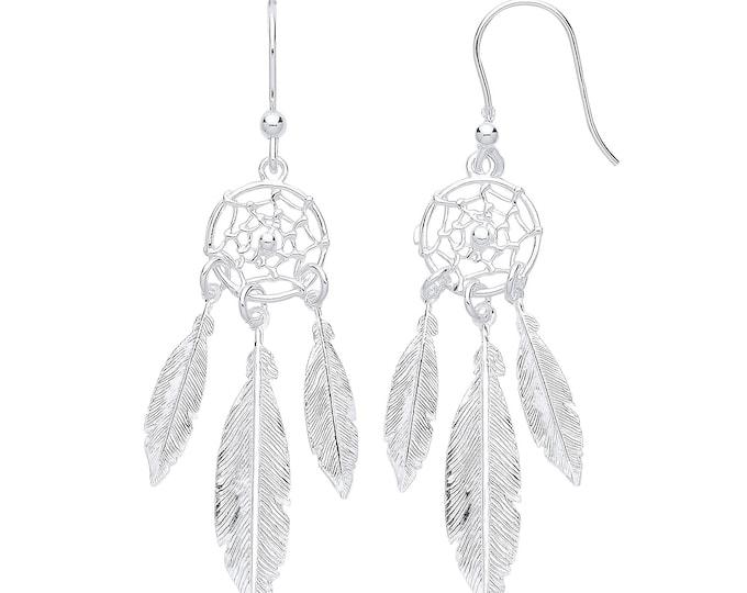 925 Sterling Silver 6.3cm Feather Dream Catcher Hook Drop Earrings