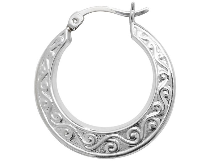 Pair of Sterling Silver Embossed Scroll Design Hollow Creole 20mm Hoop Earrings