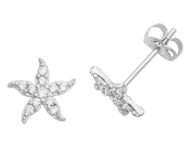 9ct Gold Small 6mm Starfish Stud Earrings Set With Cubic Zirconia Stones