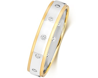 9ct Two Colour Gold 4mm Court Profile 0.12ct Rubover Set Diamond Wedding Ring Hallmarked