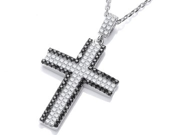 """Micro Pave Black & Clear Cz Cross Pendant 925 Sterling Silver 16""""-18"""" Necklace"""