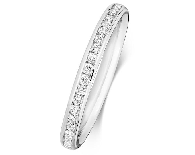 9ct White Gold 2.2mm Half Channel Set 0.19ct Diamond Eternity Ring Hallmarked