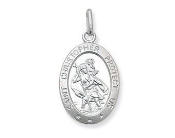 Small 1.2cm 925 Sterling Silver Oval Protect Us St Christopher Medallion Charm Pendant