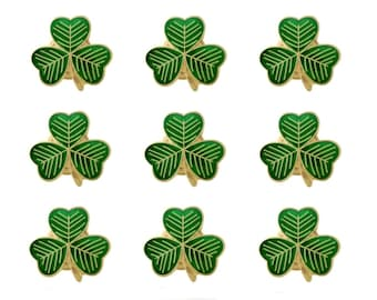 Pack 9 x Gold Plated Lucky Irish Shamrock Lapel Pin Badges St Patrick's Day