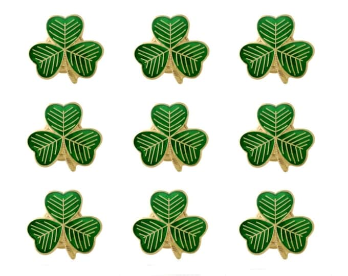 Pack 9 x Gold Plated Lucky Irish Shamrock Lapel Pin Badges St Patrick's Day 2020