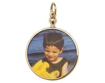 9ct Gold Double Sided 2 Photo Picture Frame Pendant-Oval-Round - Real 9K Gold
