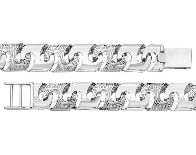 """Gents 8"""" Solid Cast 925 Sterling Silver Engraved Celtic Link 14mm Bracelet"""