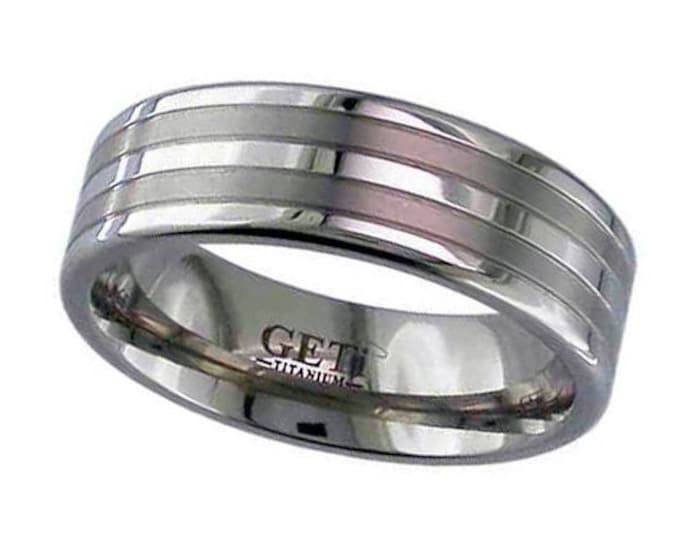 7mm Wide Titanium Wedding Ring With 2 Satin Striped & Polished Edges SIZE U