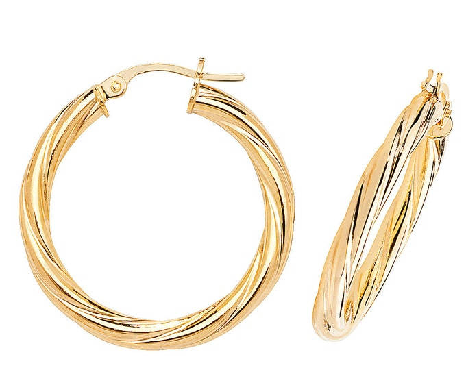 870243f27 9ct Yellow Gold 3mm Twisted Tube Hoop Earrings 10mm 15mm 20mm 25mm 30mm  40mm 50mm 60mm