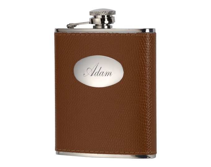 Personalised 6oz Stainless Steel & Leather Hip Flask Customised Engraved Name Initials