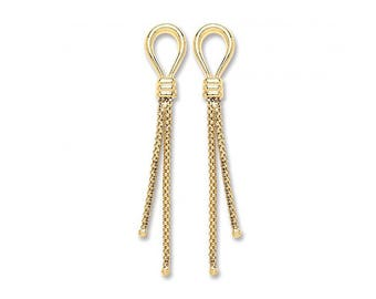9ct Yellow Gold Loop & Mesh Tassel 4cm Drop Earrings Hallmarked