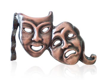 Bronze Plated Comedy Tragedy Theatre Mask Lapel Pin Badge Gift Boxed