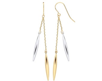 9ct 2 Colour Yellow & White Gold 5.8cm Hollow Icicle Shaped Hook Drop Earrings - Real 9K Gold