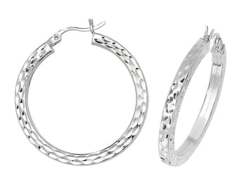 Sterling Silver Square Tube Diamond Cut Hoop Earrings  - Choice of sizes
