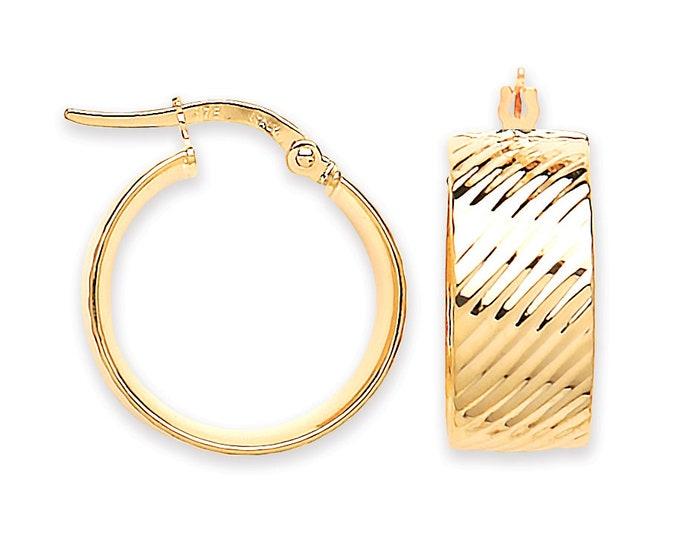 9ct Yellow Gold 8mm Wide Flat Ribbed 15mm Diameter Hoop Earrings