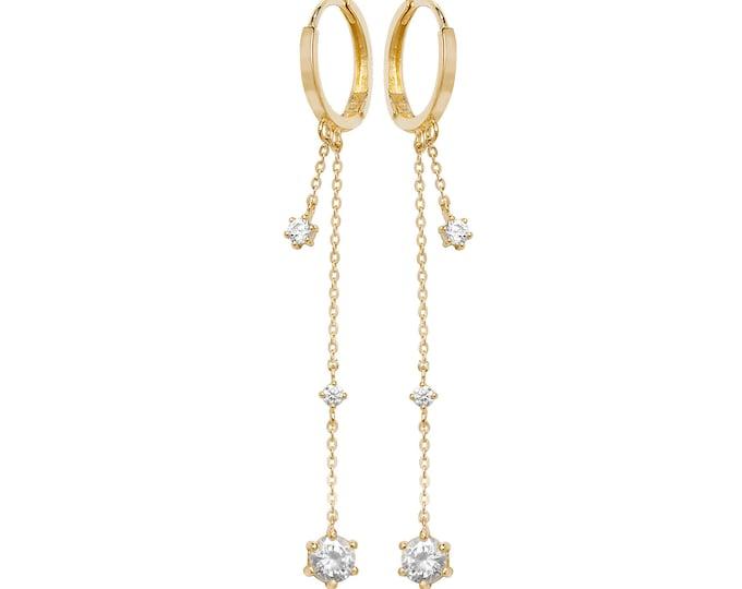 9ct Yellow Gold Hinged Flat Hoop Cz Chain Tassel 4cm Drop Earrings Hallmarked