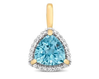 9ct Yellow Gold 0.07ct Diamond 7mm Trillion Cut Swiss Blue Topaz Pendant - Real 9K Gold