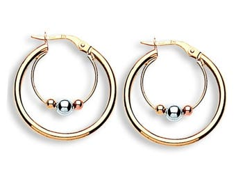 9ct Yellow Rose & White Gold Suspended Bead Hoop Earrings