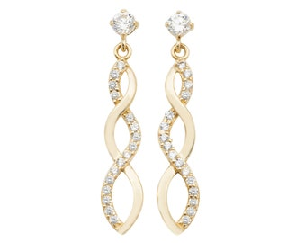 9ct Yellow Gold Cz Twisted Infinity 2cm Drop Earrings - Real 9K Gold