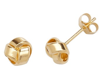 9ct Yellow Gold Plain 5mm Twisted Ribbon Knot Stud Earrings