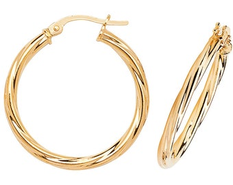 9ct Yellow Gold 2mm Twisted Tube Hoop Earrings 10mm 15mm 20mm 25mm 30mm - Real 9K Gold