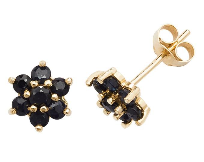 Dark Blue Sapphire Cluster Stud Earrings - 9ct Yellow Gold 4.5mm Real Sapphire Flower Earrings