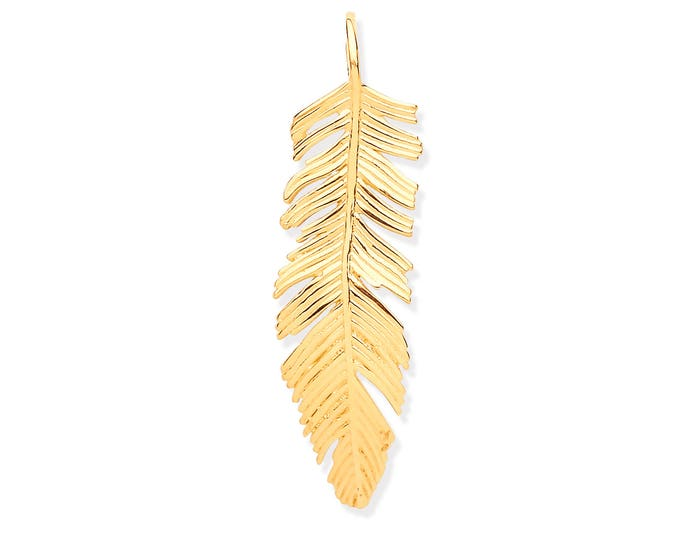 9ct Yellow Gold Large 3cm Feather Charm Pendant Hallmarked