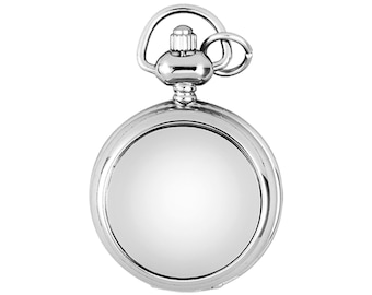 """Ladies 29mm Chrome Full Hunter Skeleton Fob Watch Pendant With 28"""" Chain Necklace"""