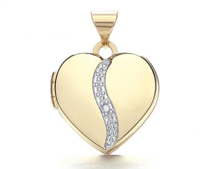 9ct Gold Single Diamond Small Heart 2 Photo Wave Locket 15x15mm