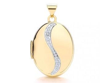 9ct Gold Single Diamond Oval 2 Photo Wave Locket 20x15mm